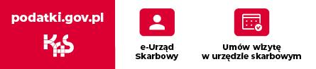 """Baner """"Załatwiaj swoje sprawy przez e-Urząd Skarbowy, a wizytę w urzędzie umawiaj na podatki.gov.pl"""""""